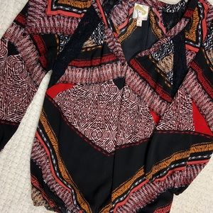 Fig & flower long sleeve boho blouse